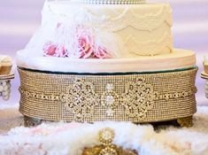 """18"""" ROUND GOLD Rhinestone Cake Stand for Wedding, Anniversary, Birthday, Quinceanera, any Special Event"""