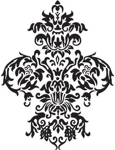 0ffe1248a3312 Items similar to Large Damask - Vinyl Wall Decal Art Baroque Sticker Home  Decor Graphic on Etsy