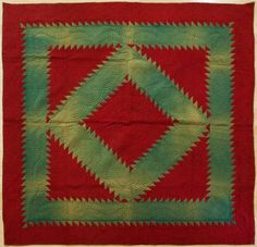 Lancaster County Amish Diamond Quilt with beautiful quilting design.  Circa 1920