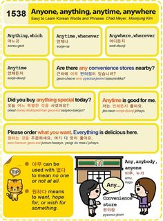 Easy to Learn Korean 1538 - Anyone, Anything, Anytime, Anywhere (Vocab)