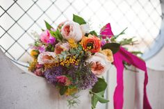 Colorful and modern bridal bouquet | photos by Ceebee Photography | 100 Layer Cake