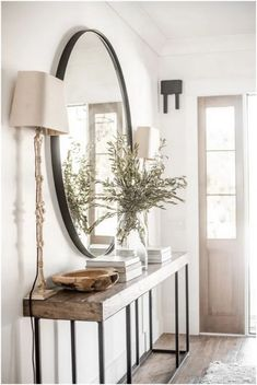 The Entry Table Ideas are small points we need to consider for room design speci. The Entry Table Ideas are small points we need to consider for room design specifically for big day Entryway Mirror, Rustic Entryway, Modern Entryway, Entryway Furniture, Wall Mirror, Entry Table With Mirror, Small Entryway Tables, Rustic Modern Living Room, Front Entryway Decor