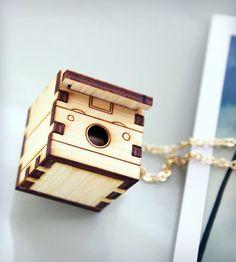 Polaroid Camera Wood Locket
