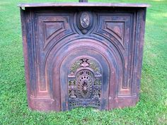 Antique 1830 Cast Iron Fireplace Mantel with Ornate Summer Cover | eBay