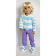 "Aqua/White Striped Top and Purple Pants. For Kidz 'n' Cats, Magic Attic, and Other Slim 18"" Dolls. by SillyMonkeyInc on Etsy https://www.etsy.com/listing/221479414/aquawhite-striped-top-and-purple-pants"