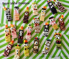 Serve Some: Sugar Wafer Monster Halloween Treats Halloween Class Party, Halloween Treats For Kids, Halloween Goodies, Halloween Desserts, Halloween Candy, Easy Halloween, Holidays Halloween, Holiday Treats, Halloween Crafts