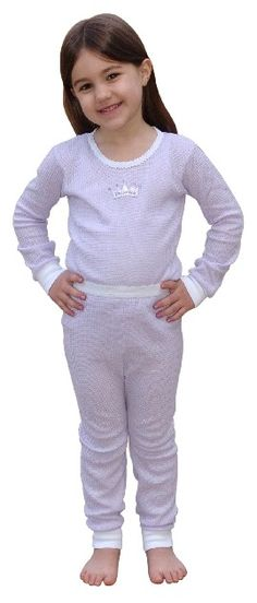 fd45a952b8b4 $12 Indera Mills Girls Thermal Underwear Set - Waffle knit cotton / polyester  blend for Girls