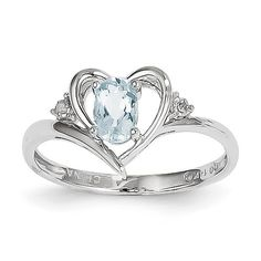 14K White Gold Genuine Diamond & Aquamarine March Birthstone Heart Ring Size 7