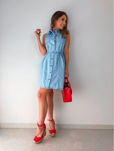 Jean Dress Outfits, Jeans Dress, Casual Outfits, Summer Outfits, Shirt Dress, Fashion Models, Mini Skirts, Street Style, My Style