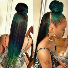 Green Color//hair Color//inspiration//look. Sew In Hairstyles, Pretty Hairstyles, Straight Hairstyles, Frontal Hairstyles, Hairstyles Pictures, School Hairstyles, Blond, Natural Hair Styles, Long Hair Styles
