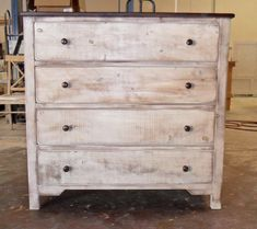 Pictured is our rustic Cardiff Coastal Cottage 4 Drawer Chest, shown in a Stained Dark Walnut Top and Weathered White Base and produced from solid Reclaimed/Salvaged Pine. Cardiff 4 Drawer Chest $595 42 wide x 19 deep x 40 high Vintage Mill Werks is a small Family owned Boutique