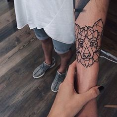 Geometric wolf tattoo! #inkspiringtattoos