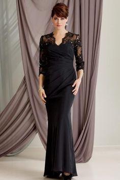 Coruña - vestidos de fiesta para señoras maduras, con mangas 3/4, estilo sirena a bajo precio