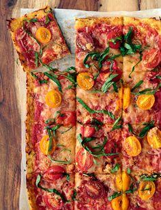 Vegetarian, cauliflower-crusted pizza