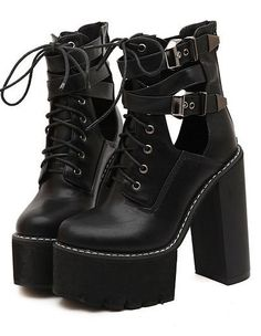 6f620fbaed0 Black Leather Lace Up Platforms Chunky Sole Heels Ankle Military Women  Boots Shoes