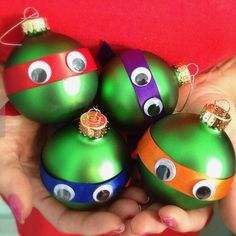 Teenage Mutant Ninja Turtles Ornaments ~ Green Ball Christmas Ornament with a Satin Ribbon in Color of Mask (Red, Purple, Orange, or Blue) and Googly Eyes!!