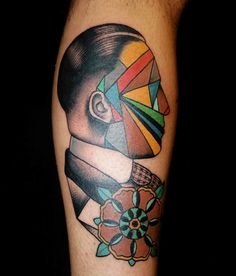 Colored Triangle Face Man. Tattoo by Pietro Sedda.