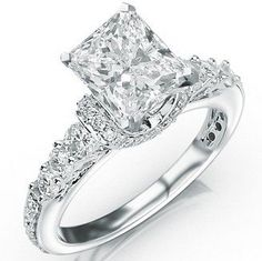 Prong and Pave Set Designer Diamond Engagement Ring with a 1.5 Carat I-J VS2 Center Stone and 0.9 Carats of Side Diamonds (2.4 Cttw)