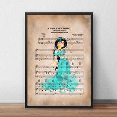 Disney Princess Jasmine Music Sheet Print-Wall Art-Gift-Nursery by OliviaLeighPrints on Etsy Art Prints Quotes, Art Quotes, Wall Art Prints, Disney Princess Silhouette, Disney Princess Jasmine, Watercolor Quote, Original Art, Illustration, Gifts