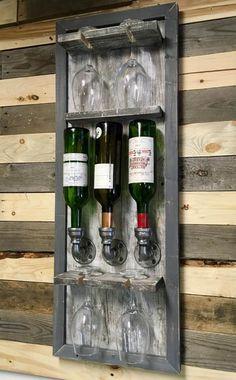 Wall Wine Bottle Wall, Wine Glass Rack, Wood Wine Racks, Bottle Rack, Diy Pallet Projects, Woodworking Projects Diy, Wood Projects, Alcohol Dispenser, Wine Rack Storage