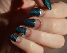 teal holo half mani with negative space nails // A England - Propsperine