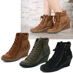 New Women Shoes Lace Up Zipper High Top Wedge High Heel Fashion Sneakers Us 6~8 | eBay