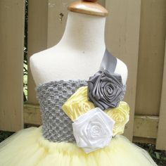 flower girl tutu dress yellow grey and white. by Hollywoodtutu, $79.99