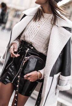 what to wear with leather skirt : jacket + white knit sweater