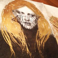 My latest workpiece. Charcoal and gold. A3 format.