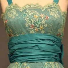Pretty in aqua with embroidery and lace... ~~  Houston Foodlovers Book Club
