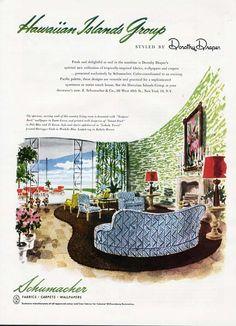 MID CENTURY MODERN Living - Tropical - Schumacher Fabric Ad 1949