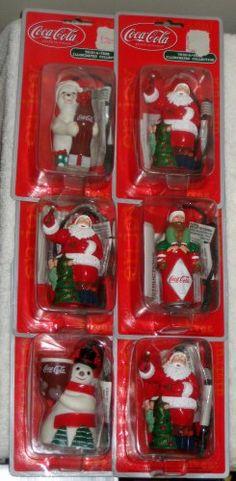 Coca-Cola Illuminated Ornaments Coke Polar Bear Snowman Santa Claus Elf Trim-a-Tree Collection NIP $24