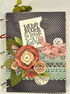 Little Birdie Secrets: gathered ribbon flower and mixed media class ~ love the cluster of embellishments and how they work together.