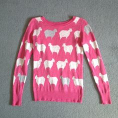 sheep top  Cute pink top with white & grey sheep! Stretchy material, 100% cotton.   no trades, paypal, & mercari  bundle for 20% discount  not smoke or pet free Mossimo Supply Co. Tops Tees - Long Sleeve