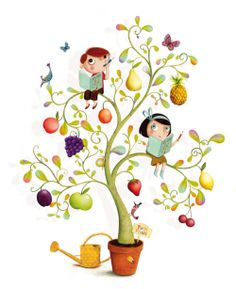 Ideas For Fruit Cartoon Illustrations Galleries Illustration Mignonne, Graphic Illustration, Fruit Cartoon, I Love Books, Illustrations Posters, Cute Kids, Book Art, Whimsical, Character Design