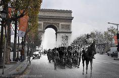 ejercito nazi a caballo después de derrotar al ejercito francés e ingleses