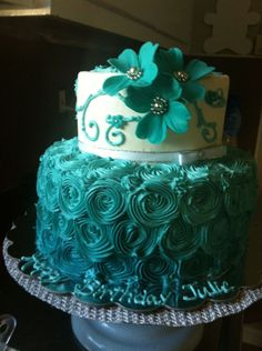 Birthday Cakes....the color first caught my attention then I saw the flowers=)
