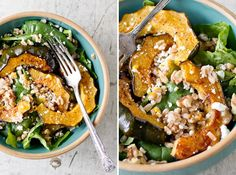 A savory and sweet winter main dish salad, featuring roasted squash, farro and an orange vinaigrette with feta cheese crumbles.