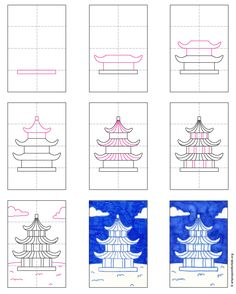 Easy Pagoda Painting · Art Projects for Kids China For Kids, Japan For Kids, Art Videos For Kids, Art Lessons For Kids, Art Drawings For Kids, Easy Drawings, Japanese Drawings, School Art Projects, China Art