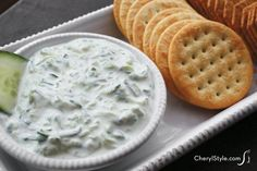 This quick and easy cucumber dip is easy to whip up. Just chill a blend of English cucumbers, cream cheese, onions and lemon juice.