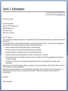 Sample Seasonal Retail Cover Letter