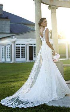 V Back Sleeveless Lace Romantic Fit and Flare Wedding Dress Sheer Panel Train