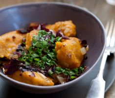 Gluten-free pumpkin dumplings with radicchio recipe