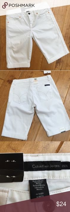 """NWT Calvin Klein Bermuda jean shorts NWT pair of Calvin Klein denim Bermuda shorts. They are white and size 28/6. Total length is approximately 20"""", approximate measurement of the waist when laid flat is 16"""", and inseam is approximately 11.5"""" with the shorts rolled. There is a zipper fly and five pockets. Calvin Klein Jeans Shorts Bermudas"""