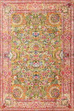 Saffron Yellow Antique Persian Kerman Rug 48659