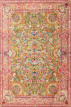 Saffron Antique Persian Kerman Rug 48659 By Nazmiyal