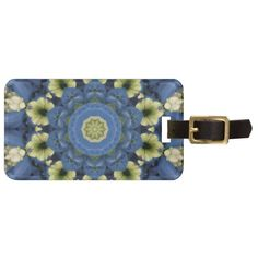 blue floral tag luggage tag