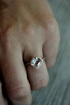 White Topaz And 14k Recycled Rose Gold Solitaire Ring, Made To Order. $648.00, via Etsy.