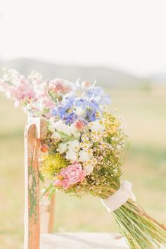 Pastel Wild Flowers Wedding Bouquet