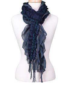 Another great find on #zulily! Navy Fringe & Frill Scarf by Tickled Pink #zulilyfinds  $9.99